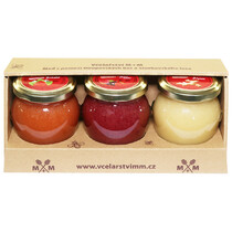 Medové krémy - jahoda, lesní směs, zázvor